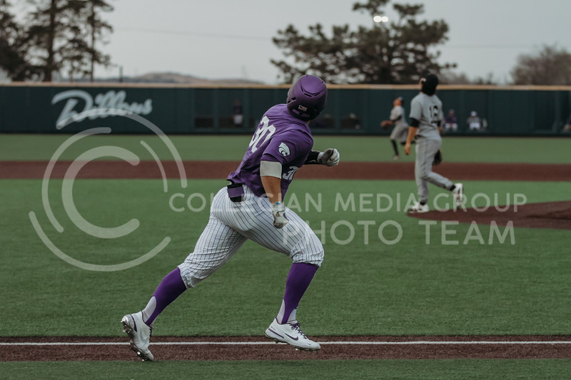 Senior catcher Chris Ceballos watches the ball after batting during the game against Arkansas-Pine Bluff on April 6, 2021 at Tointon Family Stadium. (Sophie Osborn   Collegian Media Group)