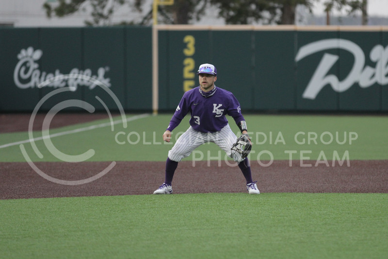 Senior Cameron Thompson watches the batter during the game against Arkansas-Pine Bluff on April 6, 2021 at Tointon Family Stadium. (Sophie Osborn   Collegian Media Group)