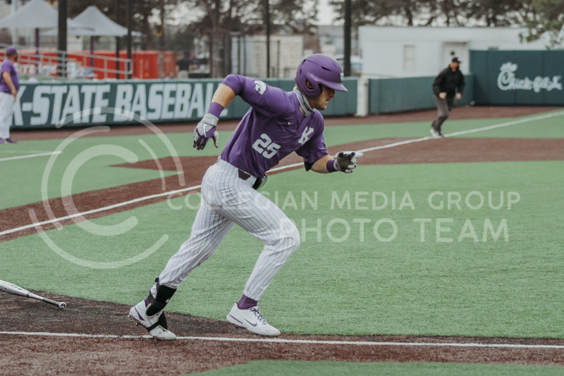 Freshman Nick Goodwin runs to first during the game against Arkansas-Pine Bluff on April 6, 2021 at Tointon Family Stadium. (Sophie Osborn   Collegian Media Group)