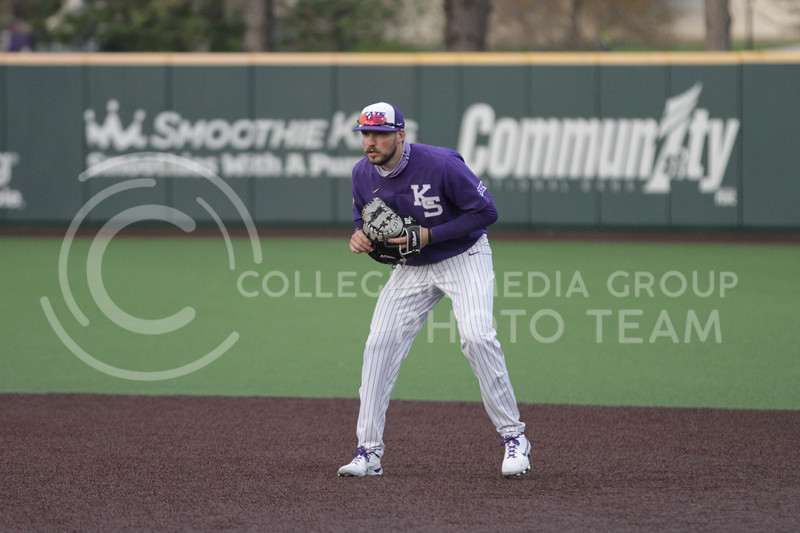 prepares for the ball to be hit during the game against Arkansas-Pine Bluff on April 6, 2021 at Tointon Family Stadium. (Sophie Osborn   Collegian Media Group)
