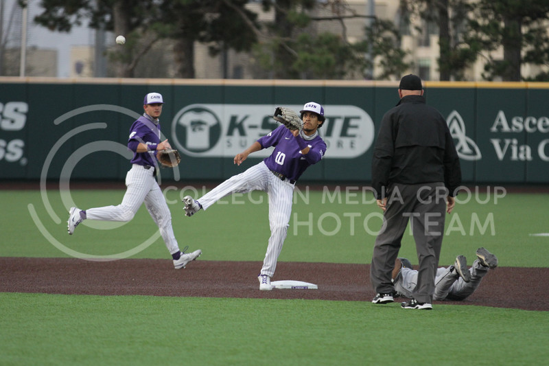 Junior Kamron Willman looks to tag a play out during the game against Arkansas-Pine Bluff on April 6, 2021 at Tointon Family Stadium. (Sophie Osborn   Collegian Media Group)