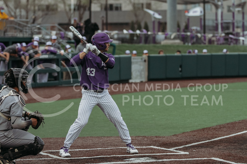 Freshman outfielder Cameron Uselton steps up to bat during the game against Arkansas-Pine Bluff on April 6, 2021 at Tointon Family Stadium. (Sophie Osborn   Collegian Media Group)