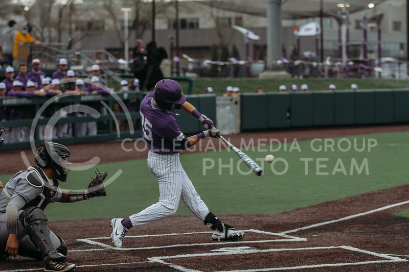 Freshman infielder Nick Goodwin hits the ball during the game against Arkansas-Pine Bluff on April 6, 2021 at Tointon Family Stadium. (Sophie Osborn   Collegian Media Group)
