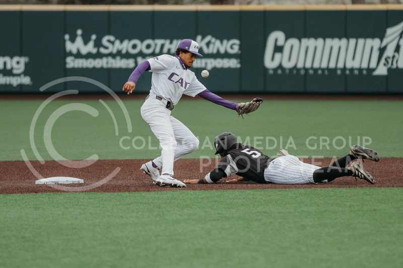 Junior Kamron Willman looks to catch the ball before a runner can get to second base during the April 7, 2021 game against Arkansas-Pine Bluff at Tointon Family Stadium. (Sophie Osborn | Collegian Media Group)