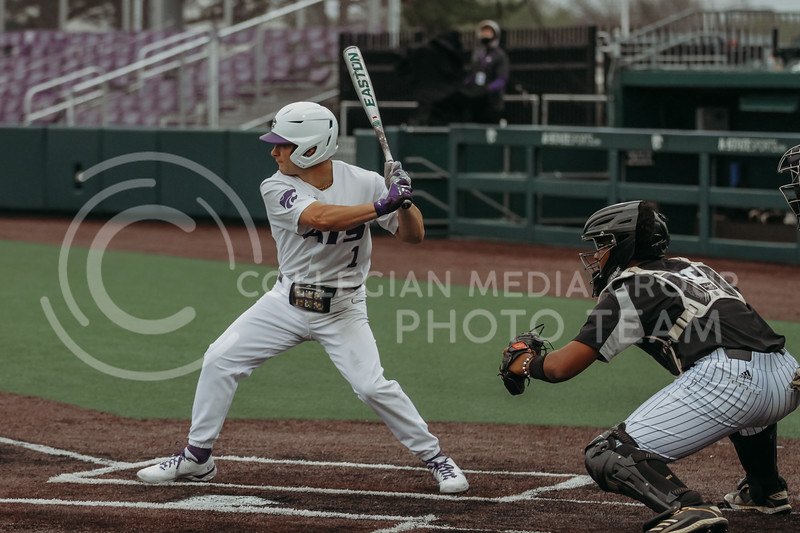 Freshman Dom Hughes steps up to bat during the April 7, 2021 game against Arkansas-Pine Bluff at Tointon Family Stadium. (Sophie Osborn | Collegian Media Group)