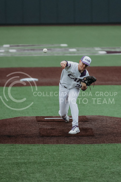 Junior pitcher Zak Herbers pitches the ball during the April 7, 2021 game against Arkansas-Pine Bluff at Tointon Family Stadium. (Sophie Osborn | Collegian Media Group)