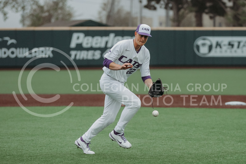 Junior Zak Herbers looks to get the ball in hopes of getting out a runner during the April 7, 2021 game against Arkansas-Pine Bluff at Tointon Family Stadium. (Sophie Osborn | Collegian Media Group)