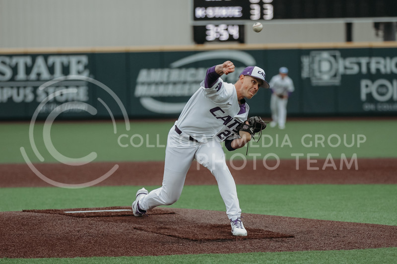 Junior Zak Herbers pitches the ball during the April 7, 2021 game against Arkansas-Pine Bluff at Tointon Family Stadium. (Sophie Osborn | Collegian Media Group)