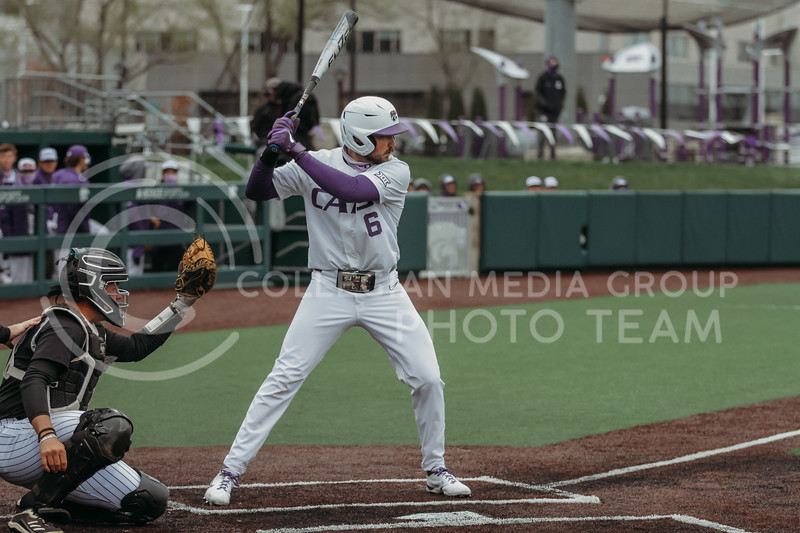 Junior Terrence Spurlin steps up to bat during the April 7, 2021 game against Arkansas-Pine Bluff at Tointon Family Stadium. (Sophie Osborn | Collegian Media Group)