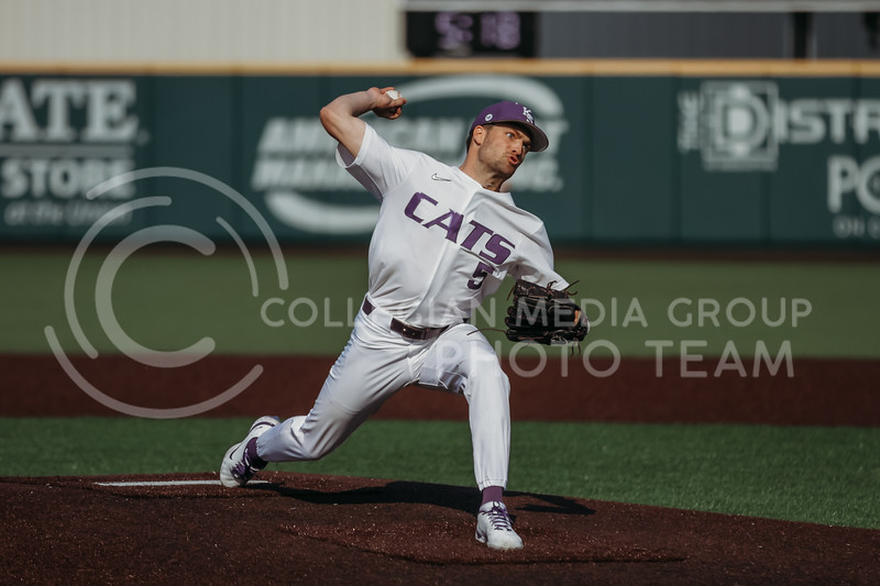 Freshman Connor McCullough pitches the ball during the game against West Virginia on April 24, 2021 at Tointon Family Stadium. (Sophie Osborn | Collegian Media Group)
