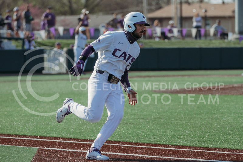 Junior Terrence Spurlin heads toward first base during the game against West Virginia on April 24, 2021 at Tointon Family Stadium. (Sophie Osborn | Collegian Media Group)