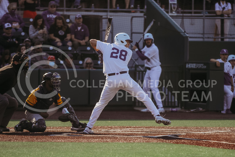 Junior Zach Kokoska gets ready to swing during the game against West Virginia on April 24, 2021 at Tointon Family Stadium. (Sophie Osborn | Collegian Media Group)