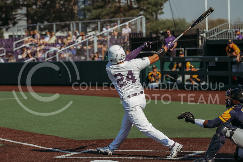 Sophomore Dylan Phillips during the game against West Virginia on April 24, 2021 at Tointon Family Stadium. (Sophie Osborn | Collegian Media Group)