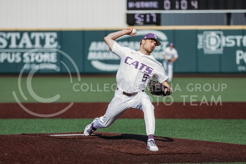 Freshman Connor McCullough prepares to release the ball during the game against West Virginia on April 24, 2021 at Tointon Family Stadium. (Sophie Osborn | Collegian Media Group)