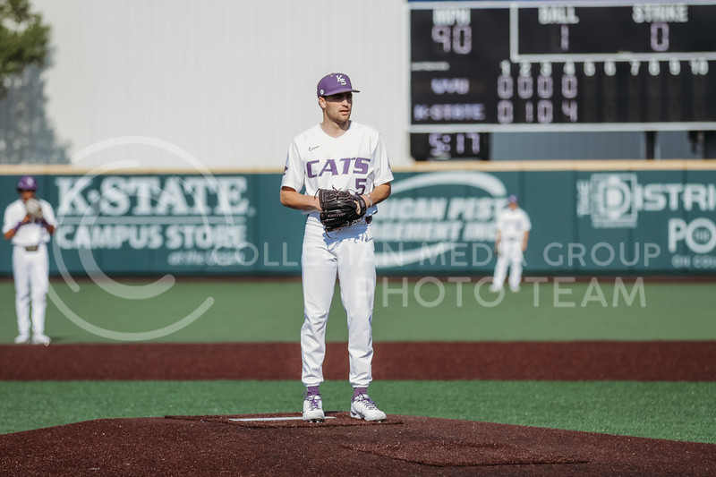 Freshman Connor McCullough prepares to pitch during the game against West Virginia on April 24, 2021 at Tointon Family Stadium. (Sophie Osborn | Collegian Media Group)