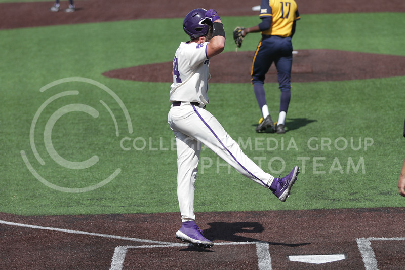 Sophomore Dylan Phillips celebrates a home run during the game against West Virginia on April 25, 2021 at Tointon Family Stadium. (Sophie Osborn   Collegian Media Group)