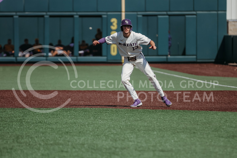 Senior Caleb Littlejim attempts to steal a base during the game against West Virginia on April 25, 2021 at Tointon Family Stadium. (Sophie Osborn   Collegian Media Group)