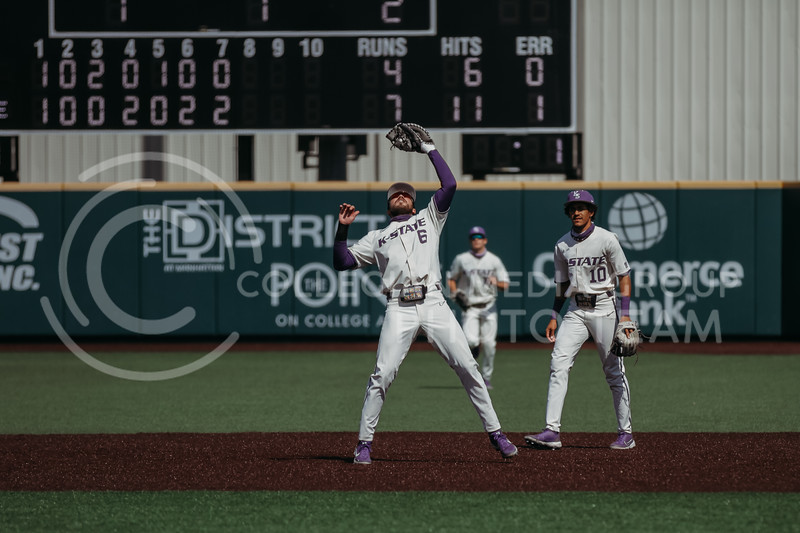 Junior Terrence Spurlin catches the ball in the outfield during the game against West Virginia on April 25, 2021 at Tointon Family Stadium. (Sophie Osborn   Collegian Media Group)