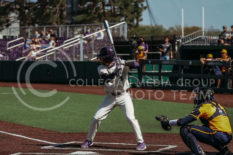 Senior Cameron Thompson steps up to bat during the game against West Virginia on April 25, 2021 at Tointon Family Stadium. (Sophie Osborn   Collegian Media Group)