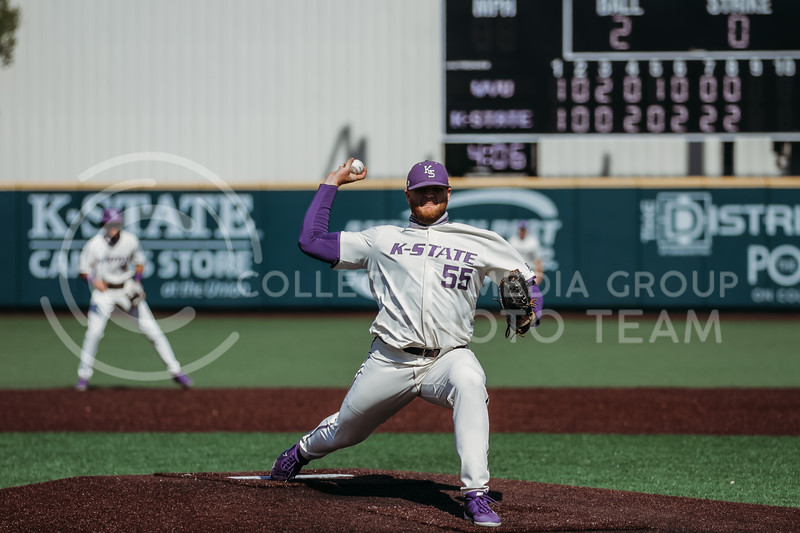 Senior Kasey Ford pitches the ball during the game against West Virginia on April 25, 2021 at Tointon Family Stadium. (Sophie Osborn   Collegian Media Group)