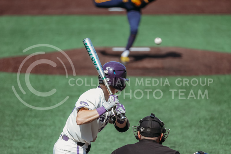 Freshman Nick Goodwin prepares to swing during the game against West Virginia on April 25, 2021 at Tointon Family Stadium. (Sophie Osborn   Collegian Media Group)