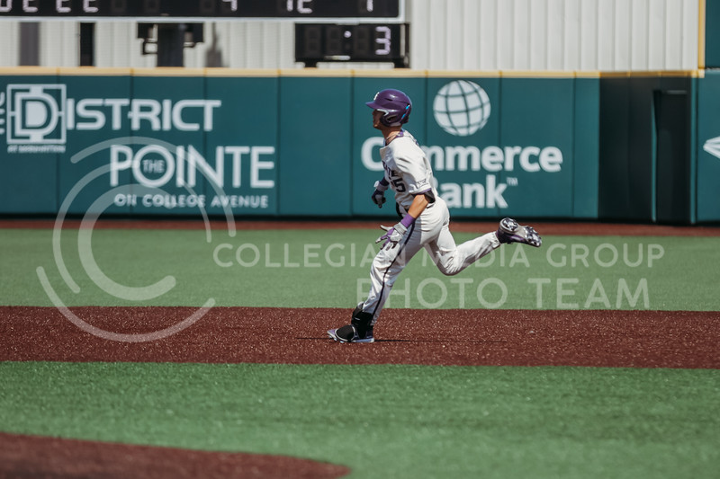 Freshman Nick Goodwin runs to second base during the game against West Virginia on April 25, 2021 at Tointon Family Stadium. (Sophie Osborn   Collegian Media Group)