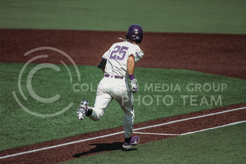 Freshman Nick Goodwin runs to first base during the game against West Virginia on April 25, 2021 at Tointon Family Stadium. (Sophie Osborn   Collegian Media Group)