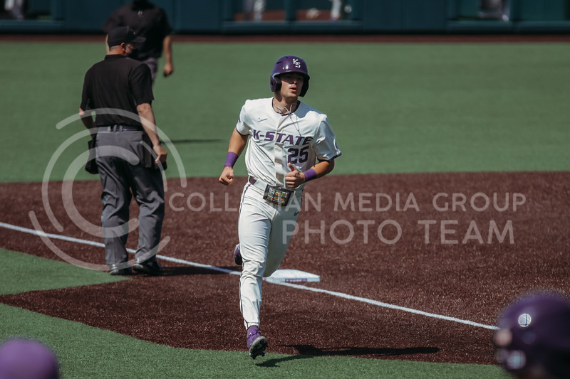 Freshman Nick Goodwin runs home during the game against West Virginia on April 25, 2021 at Tointon Family Stadium. (Sophie Osborn   Collegian Media Group)