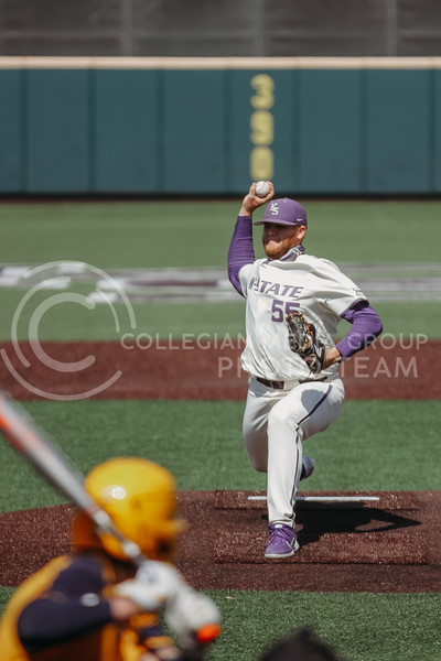 Senior Kasey Ford pitches during the game against West Virginia on April 25, 2021 at Tointon Family Stadium. (Sophie Osborn   Collegian Media Group)