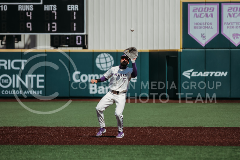 Junior Terrence Spurlin gets ready to catch the ball during the game against West Virginia on April 25, 2021 at Tointon Family Stadium. (Sophie Osborn   Collegian Media Group)