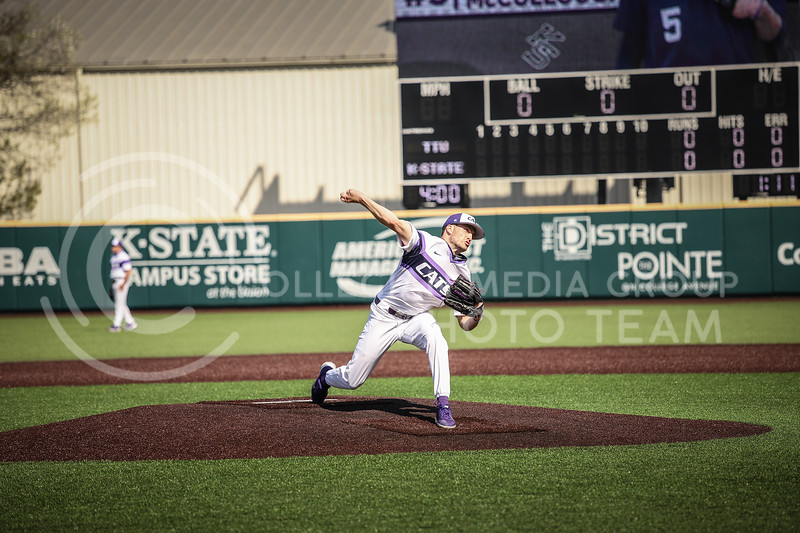 Freshman Connor McCullough throwing a pitch on Friday's game (April 3, 2021) against Texas Tech at Tointon Stadium. (Elizabeth Proctor l Collegian Media Group).
