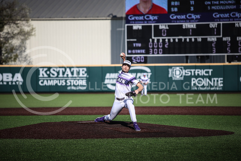 Freshman Connor McCullough throwing a pitch on Friday's game (April 3, 2021) against Texas Tech at Tointon Stadium. <br /> Elizabeth Proctor Collegian Media Group