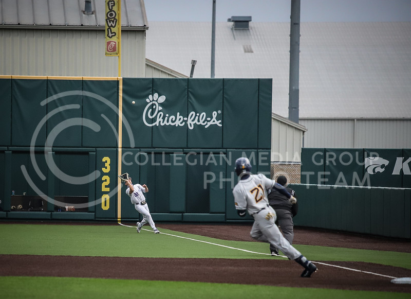 Junior Zach Kokoska catching the ball in the outfield to secure an out on Friday's game ( April 23, 2021) against Western Virginia at Tointon Stadium. <br /> Elizabeth Proctor  Collegian Median Group