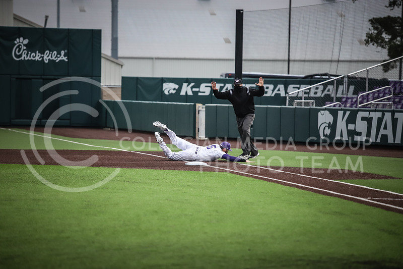 Junior Terrence Spurlin diving for the ball at first base to secure an out on Friday's game ( April 23, 2021) against Western Virginia at Tointon Stadium. <br /> Elizabeth Proctor  Collegian Median Group