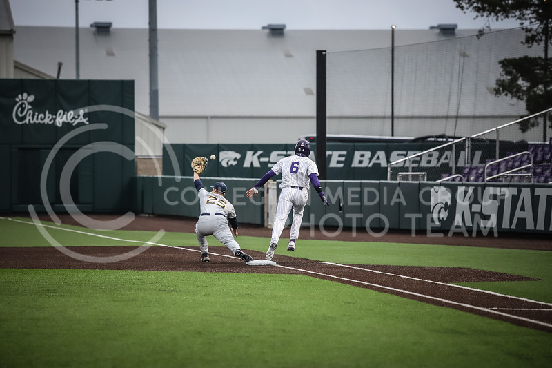 Junior Terrence Spurlin making it to first base safe after Western Virginia drops the catch on Friday's game ( April 23, 2021) against Western Virginia at Tointon Stadium. <br /> Elizabeth Proctor  Collegian Median Group
