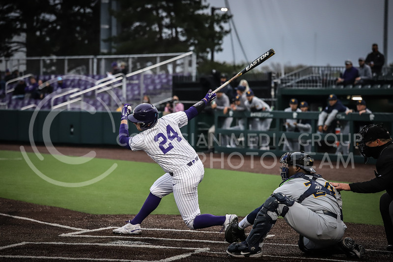 Sophomore Dylan Phillips up to bat and swinging on Friday's game ( April 23, 2021) against Western Virginia at Tointon Stadium. <br /> Elizabeth Proctor  Collegian Median Group