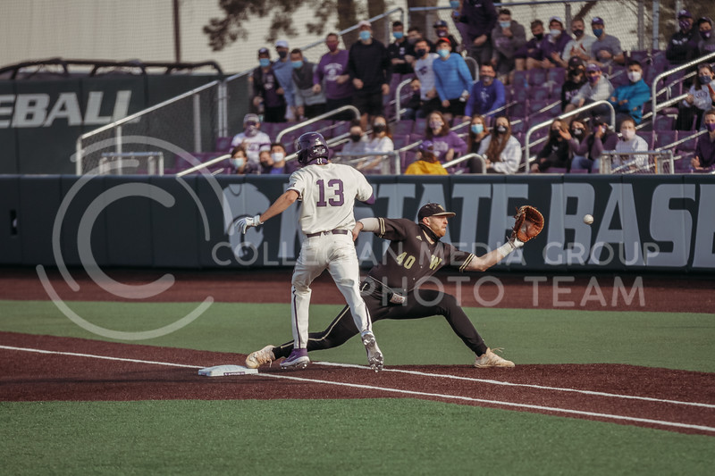 Senior Caleb Littlejim attempts to make it on base before his opponent strikes him out during the teams season opener against Western Michigan on February 26th at Tointon Family Stadium. (Sophie Osborn | Collegian Media Group)