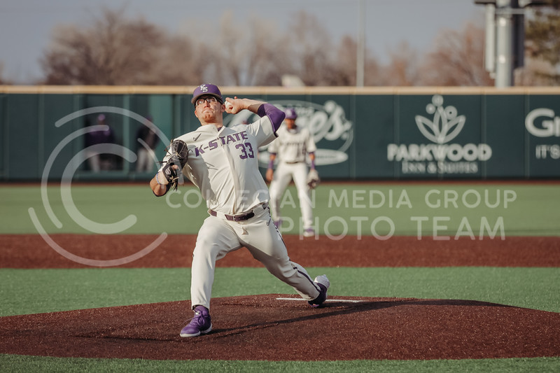Sophomore pitcher Jordan Wicks pitches the ball during the teams season opener against Western Michigan on February 26th at Tointon Family Stadium. (Sophie Osborn | Collegian Media Group)