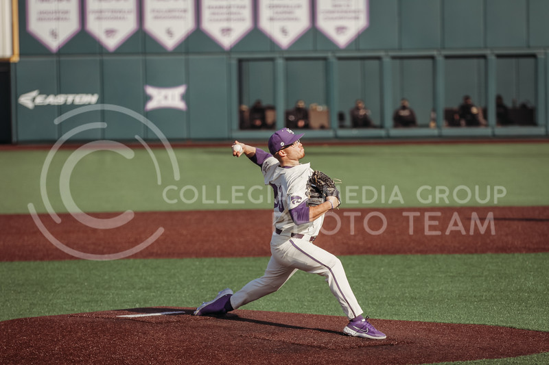 Sophomore pitcher Jordan Wicks winds up to pitch during the teams season opener against Western Michigan on February 26th at Tointon Family Stadium. (Sophie Osborn | Collegian Media Group)