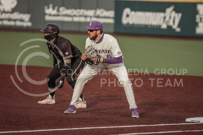 Junior Terrence Spurlin eyes the ball during the teams season opener against Western Michigan on February 26th at Tointon Family Stadium. (Sophie Osborn | Collegian Media Group)