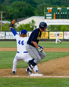 Jackson Coutts (44) makes the catch at first for the final out of a rough first inning for the Steeplecats.