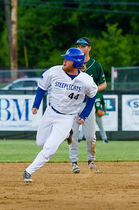 Jackson Coutts rounds the base on the way to third off a double by James Ciliento.