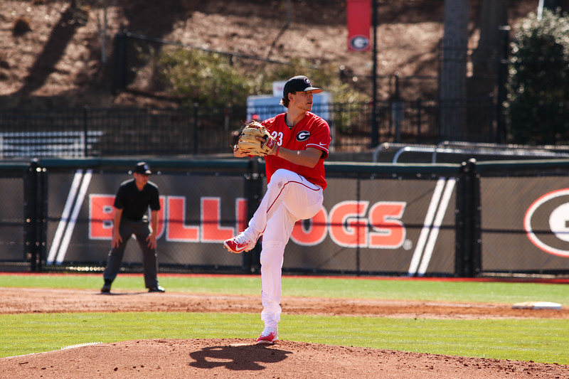 Georgia pitcher Chase Adkins (23) during the Bulldogs' game against Charleston at Foley Field in Athens, GA on Sunday, February 19, 2017 (Photo by Cory A. Cole / Georgia Sports Communications)