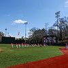 Players warm up before the Bulldogs' game against Charleston at Foley Field in Athens, Ga., on Sunday, February 19, 2017. (Photo by Cory A. Cole)
