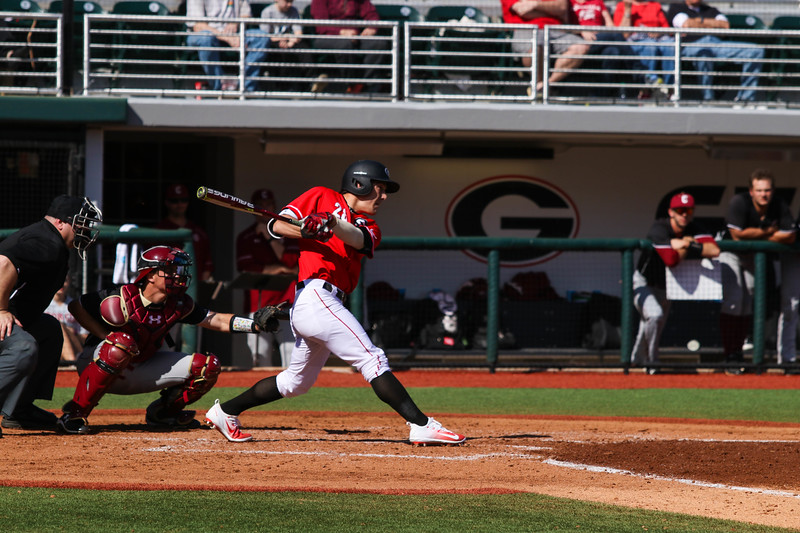 Georgia outfielder Tucker Bradley (28) during the Bulldogs' game against Charleston at Foley Field in Athens, Ga., on Sunday, February 19, 2017. (Photo by Cory A. Cole)