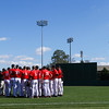 Players huddle before the Bulldogs' game against Charleston at Foley Field in Athens, Ga., on Sunday, February 19, 2017. (Photo by Cory A. Cole)