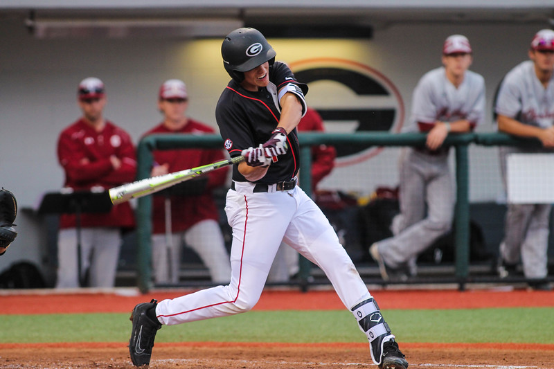 Georgia infielder Will Proctor (11) during the Bulldogs' game against Charleston at Foley Field in Athens, Ga., on Friday, February 17, 2017. (Photo by Cory A. Cole / Georgia Sports Communications)