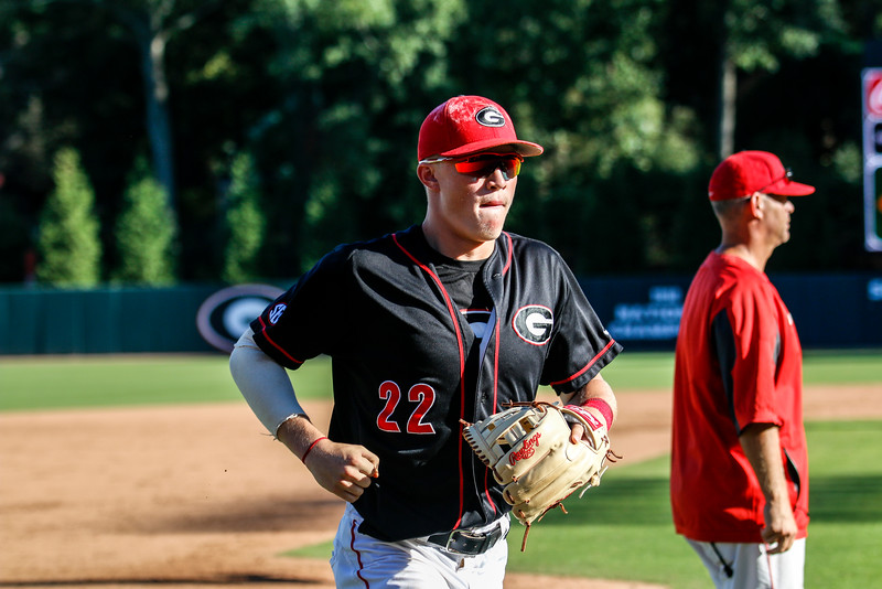 Georgia infielder Aaron Schunk (22) - During the Bulldogs' World Series at Foley Field in Athens, Ga., on Thursday, Oct. 13, 2016.  (Photo by John Paul Van Wert / Georgia Sports Communications )