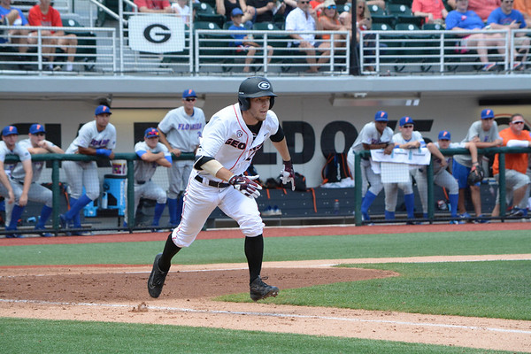 Georgia's Tucker Bradley at the baseball game at Foley Field against Florida on April 30, 2017. (Photo by Caitlyn Tam)