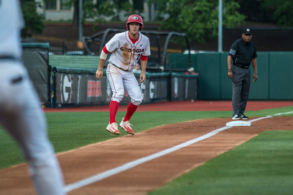Georgia outfielder Tucker Bradley (28) during the Bulldogs' game against Florida at Foley Field in Athens, Ga. on Friday, April 28, 2017. (Photo by John Paul Van Wert)